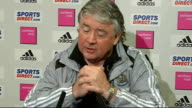 Third Round replay Newcastle United vs Hull City INT Joe Kinnear press conference SOT CUTAWAYs Newcastle players Obafemi Martins Shola Ameobi Steven...