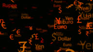 4K currency names and symbols moving in seamless loop