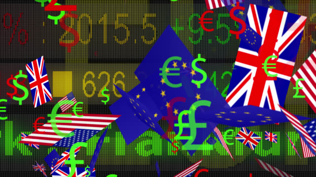 4K currency symbols and flags moving with a LED ticker