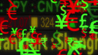 4K currency symbols moving with a LED ticker background