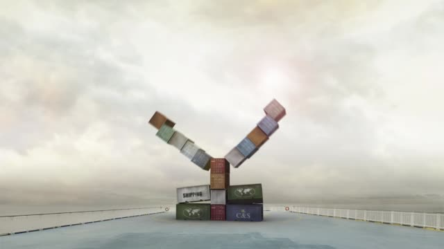 Currency yen made of containers on sunny cargo ship deck