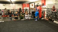 Curtis '50 Cent' Jackson and Yuriorkis Gamboa attends Yuriorkis 'The Cyclone of Guantanamo' Gamboa media work out at Iron Mike Productions Gym on...