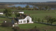 WS AERIAL POV Custer Home at Fort Abraham Lincoln State Park / Mandan, North Dakota, United States