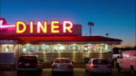 TL MS customers eating in diner as dusk turns to night/ Connecticut