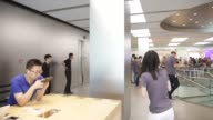 Customers inside the Apple Inc store during the sales launch of the iPhone 6s and iPhone 6s Plus at the IAPM shopping mall in Shanghai China on...