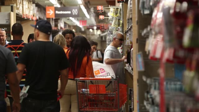 Customers shop at a Home Depot store in Midtown Manhattan in New York NY Friday August 11 2017 Photograph Victor J Blue Shots wide shot of entrance...