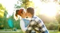 Cute boyfriend spin his girl slowmotion