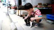 Söta barn och katt