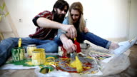 Cute couple of painters