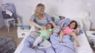 cute family with single mother little girl and brother - cavorting