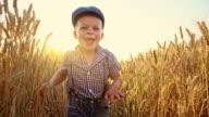 SLO MO Cute little boy running among wheat ears