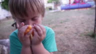Cute little child (3 years)eating some fries.