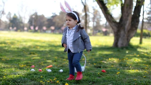 Cute little girl with bunny ears