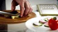 Cuting cucumber