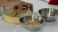 cutting cashew nut
