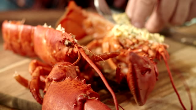 Cutting Cooked Lobster and Marinate it with Chili Butter