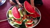 cutting fresh watermelon
