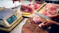 HD Cutting meat at Asian market