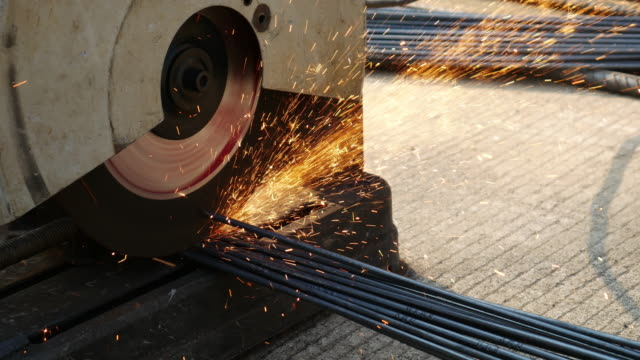Cutting steel by cutting machine , 4k(UHD)
