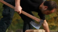 Cutting wood log with an ax