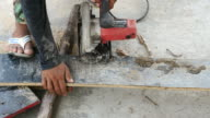 Cutting wood with circular saw machine