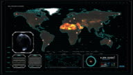 Cyber World Map in Cyberspace Central Control room