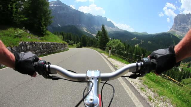 POV Cycling Downhill A High Mountain Road