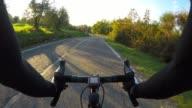 Cycling downhill in Chianti region, Tuscany. POV
