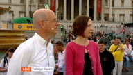 London Trafalgar Square EXT Andrew Gilligan and Dr Rachel Aldred LIVE interviews SOT Reporter to camera