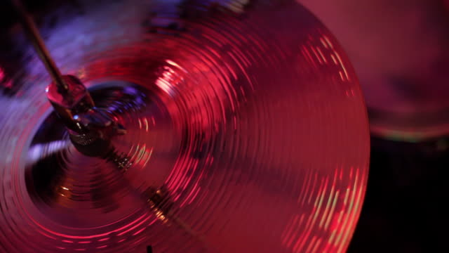 CU cymbals in drum kit on stage/Norwich/Norfolk/UK