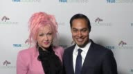 Cyndi Lauper and Julian Castro at the Cyndi Lauper's True Colors Fund Inaugural Damn Gala at Hollywood Athletic Club on October 09 2016 in Hollywood...