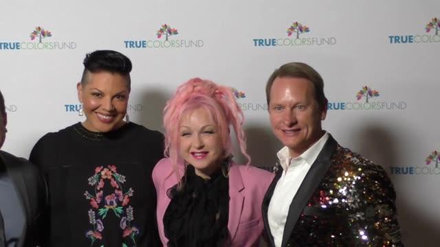 Cyndi Lauper Sara Ramirez and Carson Kressley at the Cyndi Lauper's True Colors Fund Inaugural Damn Gala at Hollywood Athletic Club on October 09...