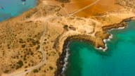 Cyprus, Ayia Napa. Aerial View. Blue lagoon. Beautiful landscape and sea waves