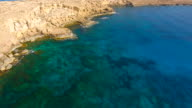 Cyprus, Ayia Napa, Cape Greco. Aerial View. Beautiful landscape and sea waves. Blue Lagoon.