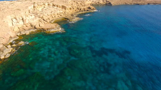 Cyprus, Ayia Napa, Cape Greco. Aerial View. Beautiful landscape and sea waves. Blue Lagoon.