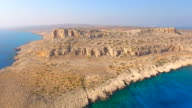 Cyprus, Ayia Napa, Cape Greco. Aerial View. Beautiful landscape and sea waves. Blue Lagoon