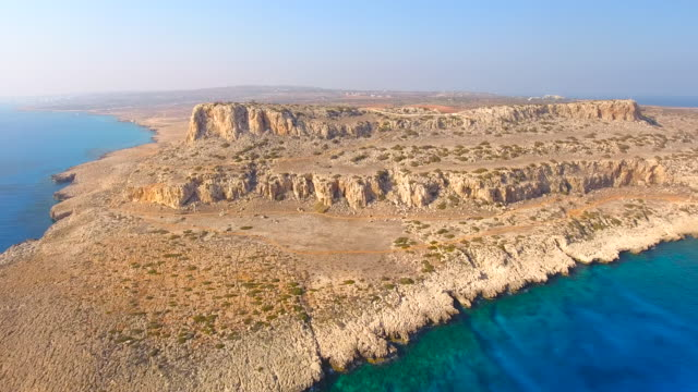 Cyprus, Ayia Napa, Cape Greco. Aerial View. Beautiful landscape and sea waves. Blue Lagoon