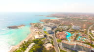 Cyprus, Nissi Beach, Ayia Napa. Aerial View. Beautiful landscape and sea waves.