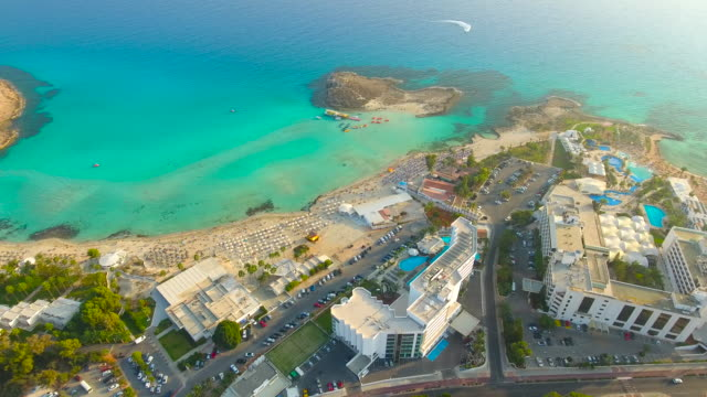 Cyprus, Nissi Beach, Ayia Napa. Aerial View. Beautiful landscape and sea waves.