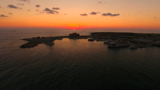 Cyprus, Paphos. Aerial View. Sunset on the sea