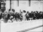 Czar Nicholas II family marching in procession with dignitaries / documentary