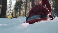 Daddy Pushing Boys on Sled in Mountain Snow