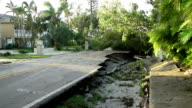 Damage to road in Naples Florida in aftermath of hurricane Irma