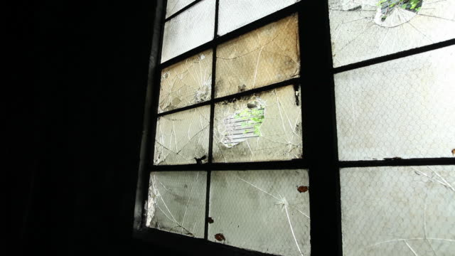 CU Damaged window in old warehouse and greenery visible through hole / Rutland, Vermont, United States