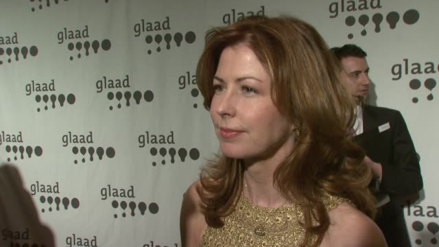 Dana Delany on her Diane von Furstenberg dress her affiliation with GLAAD the new movie she's doing sarcasm and a great analogy about irony at the...