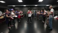 Dance director Maite Oliveria of the Paraiso School of Samba leads a rehearsal at the Brixton Recreation Centre ahead of the Notting Hill Carnival on...