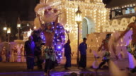 MS TU Dancers and elephant performing in Buddhist Festival or Procession 'Esala Perahera' in front of 'Temple of Tooth' AUDIO / Kandy, Central Province, Sri Lanka