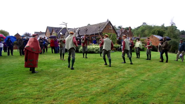 Dancers perform the Abbots Bromley Horn Dance outside Blithfield Hall on September 11 2017 in Abbots Bromley United Kingdom The dance comprising of...