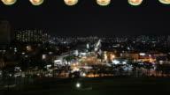 MS T/L ZO Dancheong Korean Colored pattern and Suwon cityscape at night / Suwon, Kyonggi-Do Province, South Korea