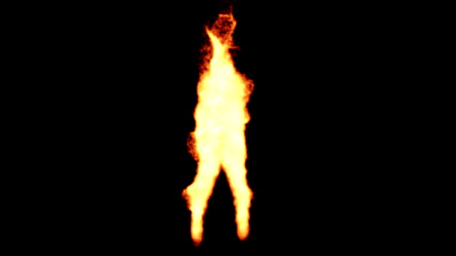 Dancing fire silhouette